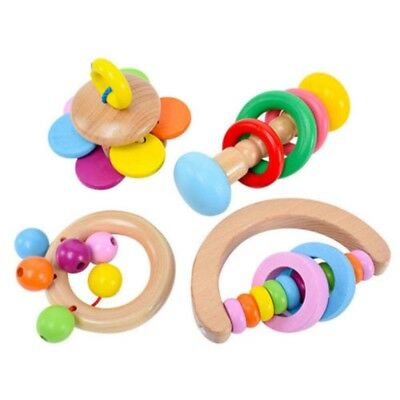 4 X Wooden Bell Rattle Toy Baby Handbell Musical Educational Instrument Toddler