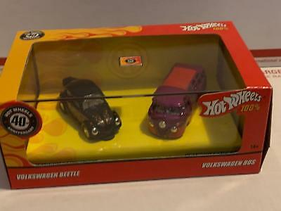 VW Beetle Bug & Volkeswagen Bus with Real Riders 2007 Hot Wheels ADULT 2 PACK