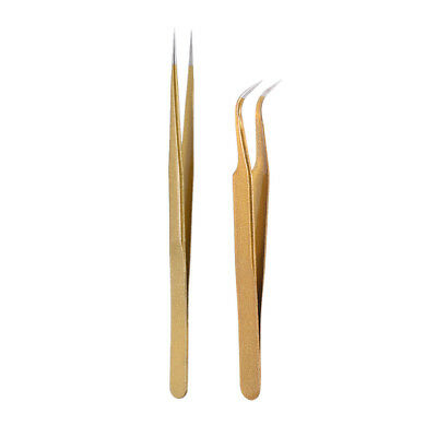 2Pcs Gold Straight & Curved Tweezers Nippers False Eyelash Extension Tool I7Y9