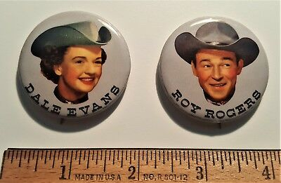 Pair of Pins featuring Vintage Western Stars Roy Rogers and Dale Evans