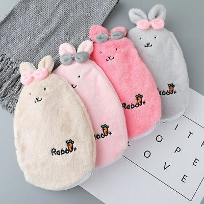 Cartoon Plushy Rabbits Plastic Hot Water Bags Anti-leaking Portable Hand Warmers