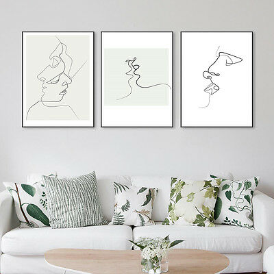 Nordic Abstract Minimalist Art Kiss Canvas Poster Print Modern Wall Picture