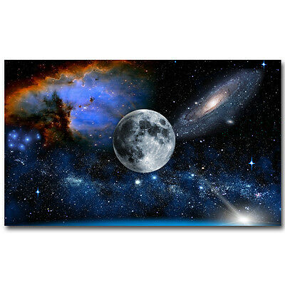 Galaxy Space Stars Nebula 13x22 24x40 inch The Moon Milky Way