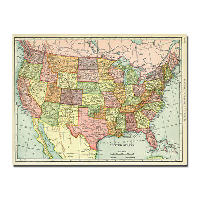 Wall Decor The United States of America USA Map Canvas Silk Poster 13x18 24x32''