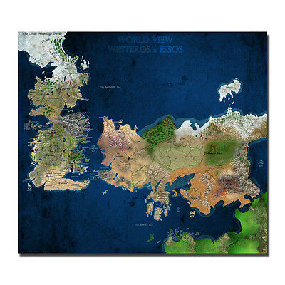 Game Of Thrones World View Westeros & Essos Map Silk Poster 32x36 inch J951