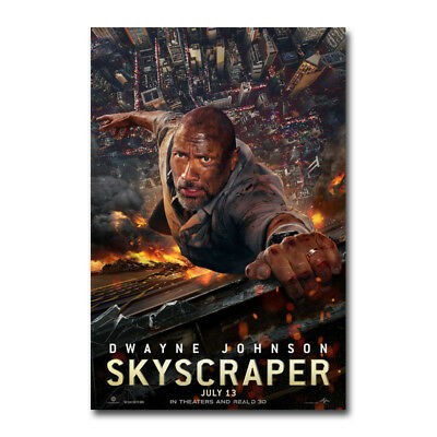 Skyscraper Movie 2018 Dwayne John Art Silk Canvas Poster 13x20 32x48 inch