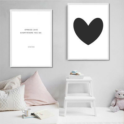 Heart Nursery Canvas Poster Quote Minimalist Prints Nordic Wall Art Painting