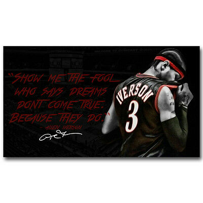 Allen Iverson Quote Basketball Silk Poster 13x24 inch