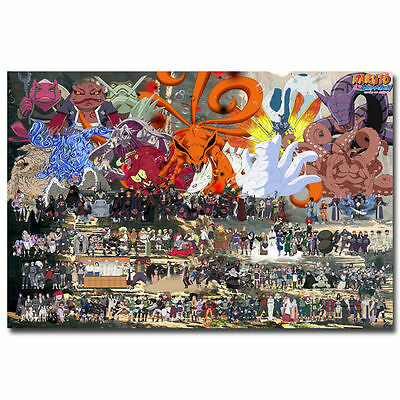 Naruto Shippuden All Characters Poster Janpan Anime Silk Poster 13x20 24x36 inch