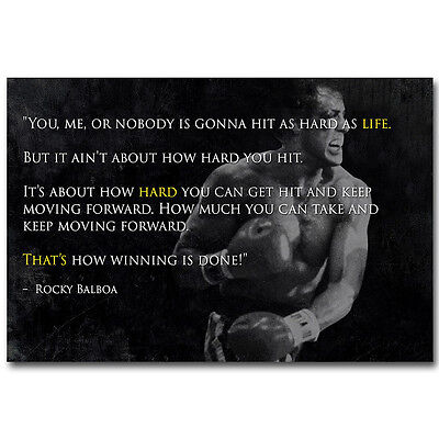 Rocky Balboa Motivational Movie Quotes Silk Poster Picture Print 13x20 24x36''