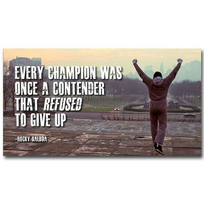 Rocky Balboa Motivational Quotes Silk Fabric Poster Prints 13x24 inch