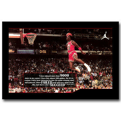 Michael Jordan Famous Foul Line Dunk Silk Poster Motivational Quote 13x20 24x36""