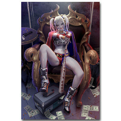 """Harley Quinn - Suicide Squad Superheroes Movie Silk Poster 13x20 24x36"""" 090"""