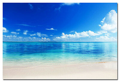 Blue Sea Tropical Beach Sky Clouds Silk Poster Print Seascape 13x20 24x36''