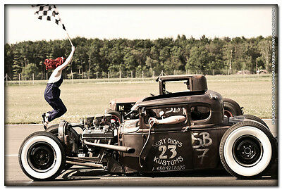 Hot Rod - Custom Roadsters Classic Muscle Cars Silk Poster 24x36 inches 004