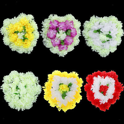 Artificial Silk Flower Chrysanthemum Funeral Memorial Tribute Heart Wreath 45cm