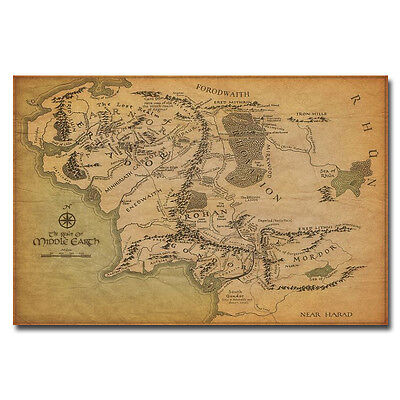 Map Of Middle Earth Art Silk Poster 13x20 24x36 inches The Lord of the Rings 001