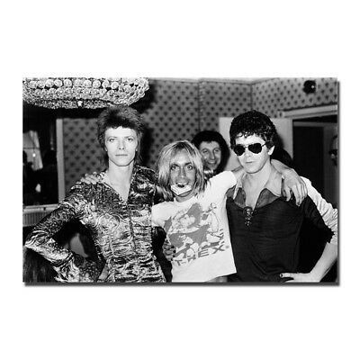 David Bowie with Iggy Pop and Lou Reed Vintage B&W Silk Poster 13x20inch
