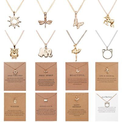 Fashion Simple Animal Pendant Necklace Chain Charm Collar Women Gifts Card 2019