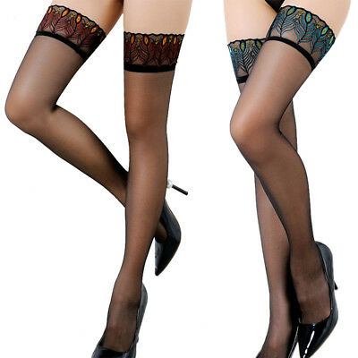 *Sexy Lingeries Stay Up Stockings With Silicone Womens Lace Floral Thigh High