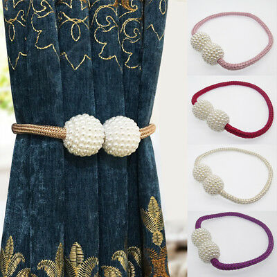 2PCS Magnetic Curtain Strap Buckle Holder Pearl Beads Tiebacks Tie Backs Clips