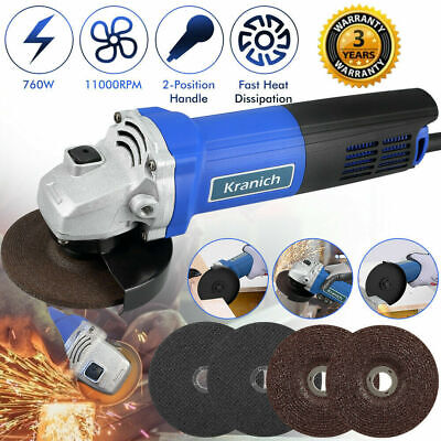 5'' Angle Grinder 125mm Small Electric Sander 1250W 11000RPM W/ 5 Cutting Disc