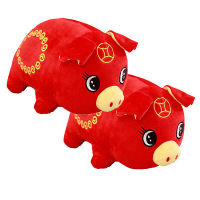 Chinese New Year Red Plush Toys Stuffed Doll Zodiac Pigs Tang Suit Pig Xmas Gift