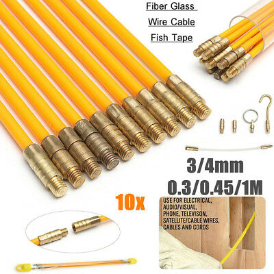 10X Fiberglass Cable Running Rods Kit Fish Tape Electrical Wire Coaxial 3/4mm