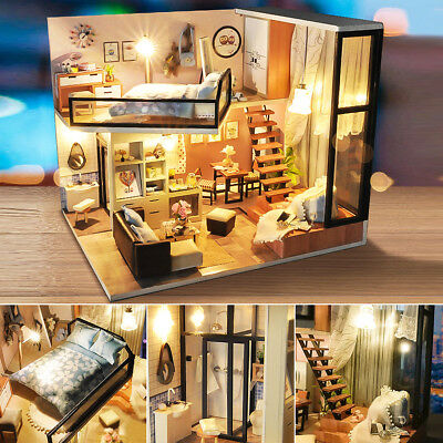 Modern DIY Doll House Miniature Dollhouse With Furniture LED Light Box Gift Kit