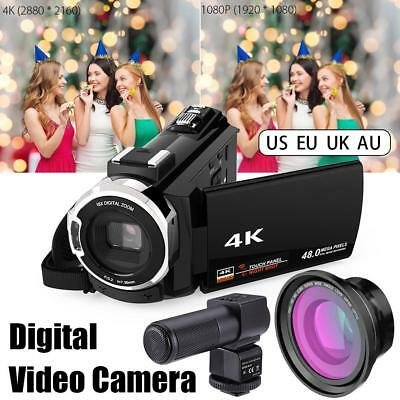 Digital Video Camera 4K WiFi 48MP 16X ZOOM Camcorder+Microphone+Wide Angle Lens