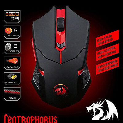 Pro Redragon M601 CENTROPHORUS-3200 DPI Gaming Mouse for PC 6D Weight Tuning NEW