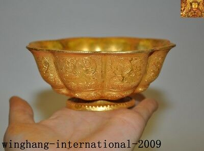 antique China Dynasty palace Bronze 24k gold Gilt animal god beast Tea cup bowl