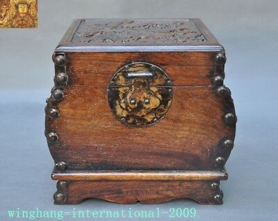 "8"" Chinese Huanghuali Old Wood Hand-carved lotus Crane statue Storage Box Boxes"