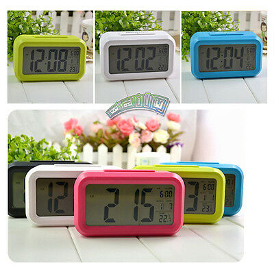 Digital Backlight LED Display Alarm Clock Time Snooze Light Calendar Thermometer