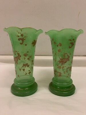 Pair of Antique French Fine Green Gilt Opaline Glass Vases, circa 1890