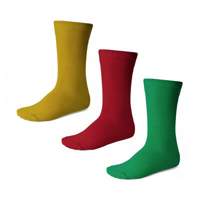 Children's Crew Socks S M or L, 3-Pack: Gold, Red and Green