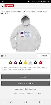 0c222c3d4faa Supreme x Champion Label Hoodie SIZE Xl Brand New! (Order Confirmed)Sold Out