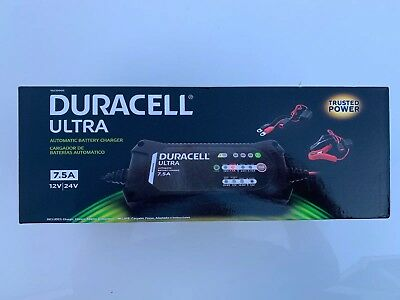 Duracell Ultra 7.5A Amp 12V/24V Volt Automatic Battery Charger