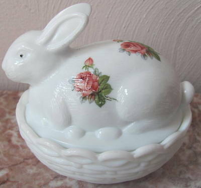 Bunny Rabbit on Basket Dish w/ Burgandy Roses - Milk Glass - Mosser Rosso USA