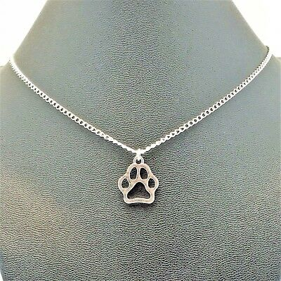 Dog Paw Charm Necklace Pet Sterling Silver plated Chain Link  Women's Jewelry
