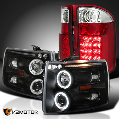 Black 2007-2014 Chevy Silverado Halo LED Projector Headlights+Red LED Tail Lamps