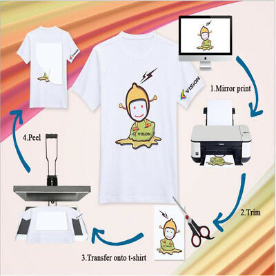 10Sheets A4 Heat Transfer Paper Iron On Inkjet Print For Light T Shirts