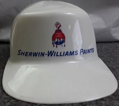Vintage Sherwin - Williams Paints Plastic White Hard Hat 1972 Adjustable