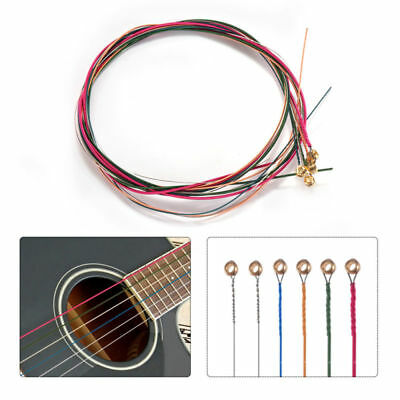 Perfect 1 Set 6pcs Rainbow Colorful Color Steel Strings for Acoustic Guitar