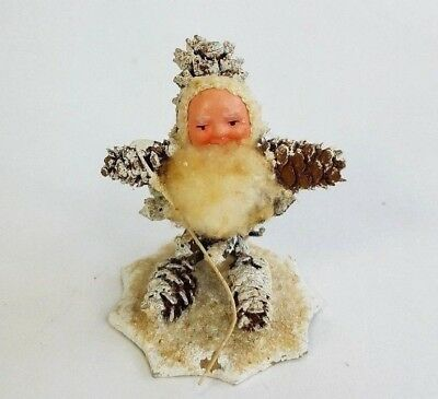 Vtg Christmas Santa Gnome Pine Cone Spun Cotton Composite Face Germany USSR Zone