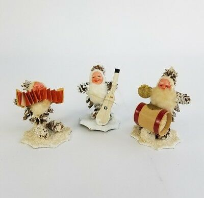 3 Vintage German Putz Pine Cone Christmas Santa Elves Gnomes Spun Cotton Band