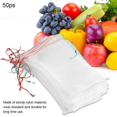 50X Garden Plant Fruit Protect Drawstring Net Mesh Bag Against Insect Pest Tools