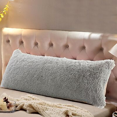 """Body Pillow Cover 18 /""""x52/"""" Sherpa with side zipper by Lavish Home Ivory"""