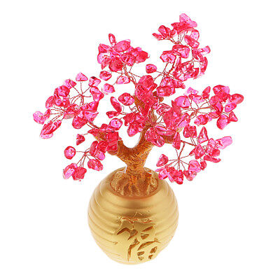 Wealth Lucky Money Tree Feng Shui Crystal Plastic Tree Home Decor Red