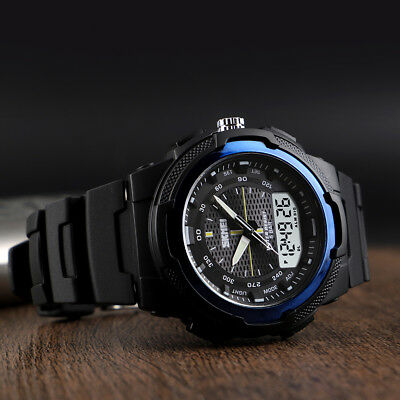 SKMEI Mens Waterproof Sport Army Alarm Date Analog Digital Military Quartz Watch